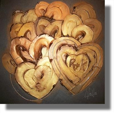 Personalised golden hearts