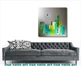 Aqua city SOLD by lisa vallo art, Painting, Mixed Media on Canvas