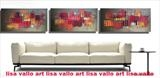 Huge triptych available to order in colours of your choice by lisa vallo art, Painting, Mixed Media on Canvas