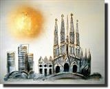 La Sagrada Familia, Barcelona by lisa vallo art, Painting, Acrylic on canvas