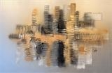 Metallic City RRP £750 by lisa vallo art, Painting, Mixed Media on Canvas