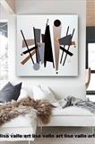 Mid-Century Urban MADE TO ORDER ONLY by lisa vallo art, Painting, Mixed Media on Canvas