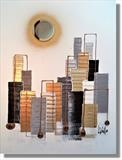 Moon over Manhatten by lisa vallo art, Painting, Mixed Media on Canvas