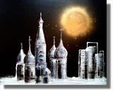Moonlit Moscow WAS £349 by lisa vallo art, Painting, Mixed Media on Canvas