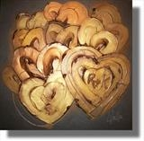 Personalised golden hearts by lisa vallo art, Painting