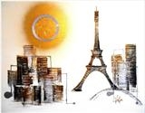 Powerful Paris SOLD by lisa vallo art, Painting, Mixed Media on Canvas