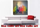 Rainbow City Lights by lisa vallo art, Painting, Mixed Media on Canvas