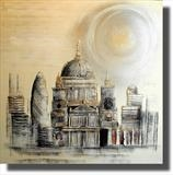 Sunny St Pauls by lisa vallo, Painting, Acrylic on canvas