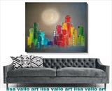 Sunset City Rainbow WAS £450 by lisa vallo art, Painting, Mixed Media on Canvas