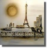 The Eiffel Tower and Mirabeau Bridge SOLD by lisa vallo, Painting, Mixed Media on Canvas