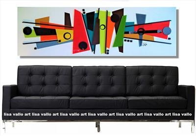 Mid-Century Mania by lisa vallo art, Painting, Mixed Media on Canvas